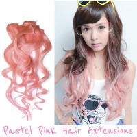 Pastel Pink Ombre Wavy Hair Extensions Japanese Style | EyeCandy's