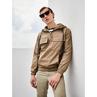 Men Flap Pocket Patched Zip Half Placket Hooded Anorak Jacket