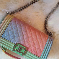 Coco Rainbow Pastel Quilted Purse