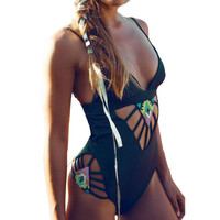 Swimwear Monokini Black Backless One Piece Swimsuit Bodysuit