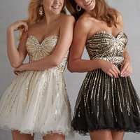 Night Moves 7201 - Ivory, Black Strapless Homecoming Dresses Online
