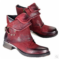 Choudory Genuine Leather Women Ankle Boots Vintage Style Western Riding Motorcycle Boots New Design Autumn Winter Shoes Woman