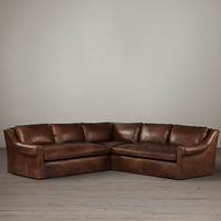 Belgian Roll Arm Leather Corner Sectional