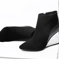 women's transparent wedges high heels ankle boots pointed toe high heels pring autumn fashion sexy black shoes woman