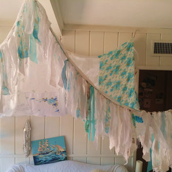 Boho Bed canopy Shabby Chic nursery wedding Bohemian Hippy vtg scarves Gypsy hippie canopies wall Decor curtain photo backdrop Fringe