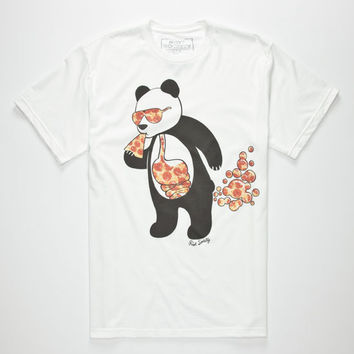 Riot Society Panda Pizza Bubble Mens T-Shirt White  In Sizes