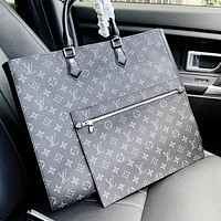 LV Louis Vuitton Monogram canvas classic old-fashioned retro handbag and mother bag two-piece set