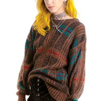 Vintage 80's Mohair Mama Plaid-Knit Pullover - XS/S/M