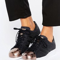 adidas Originals Black Metallic Superstar Trainers With Rose Gold Toe Cap at asos.com
