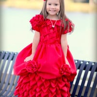 Flower girl red dress, cascading petals, valentines, Cristmas outfit