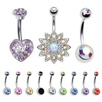 BodyJ4You 12 Pieces Belly Button Ring Paved Aurora CZ Navel Piercing Bar Lot Jewelry Set Gift Box