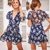 Fashion New Sexy V-neck Short Sleeve Belt Slim Print Dress