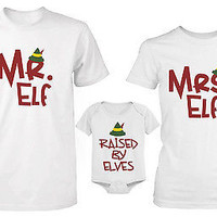 Daddy Mommy and Baby Matching Christmas Elf Family T-Shirt and Onesuit Set