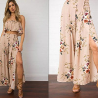 New summer sexy Women printing flowers two-piece dress -0522