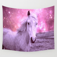Pink Horse Celestial Dreams Wall Tapestry by Whimsy Romance & Fun