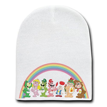 'Plumbing Bears Group' Funny Video Game Parody - White Adult Beanie Skull Cap Hat