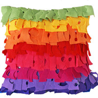Rainbow Colors Decorative Pillows Bright Funky by PillowThrowDecor