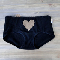 Cashmere panties black with golden tan heart - Valentines lingerie - cashmere underwear lingerie hi rise boyshorts - made to measure