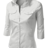 J.TOMSON Womens Button Down Cotton Shirt With Ribbed Side Trim OFF WHITE MEDIUM