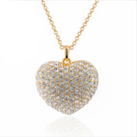 18K Gold Plated Heart Filled Rhinestones Pendant Long Chain Necklace Fashion Jewelry