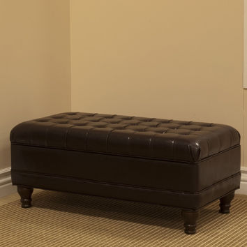 Delux Tufted Espresso Storage Bench