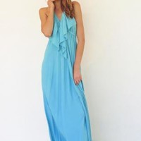 Dusty Turquoise Backless Halter Maxi Dress