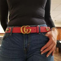 DCCK1 Gucci red clover belt with double G buckle