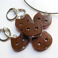 Steven Universe inspired: -Cookie Cat- ice cream sandwich keychain or necklace