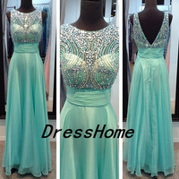 2104 Long Cyan Prom Dress - 2014 Open Back Green Prom Dress / Popular Beading Prom Dress Under 200 / Gren Evening Dress
