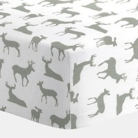 Carousel Designs White and Gray Deer Crib Sheet