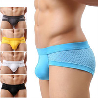 Mens Underwears Mesh Briefs Breathable Underpants Modal Soft Cotton Solid Low Waist 5-Colors Size L-XXL