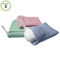 Evelots Soap Saver/Holder-Pocket-Soft Microfiber-Grab Dirt Easily-On Rope-Set/3