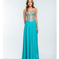 Terani 151P0036 Aqua & Nude Crystal Embellished Strapless Gown 2015 Prom Dresses
