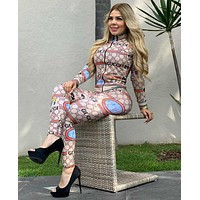 GUCCI Casual Round Collar Top Pants Set Two-Piece
