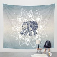Elephant Tapestry Aubusson Colored Printed Decorative Mandala Tapestry Indian Religious Boho Wall Carpet Living Room Blanket SS6