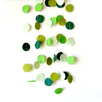 Mixed Green Circle Felt Garland - home decor, felt bunting, christmas garland banner, birthday decorations