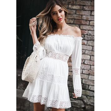 Explosive lace stitching one-shoulder dress