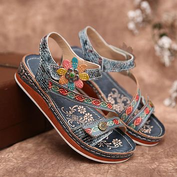 Summer new style pattern Velcro large size flat bottom women's sandals shoes