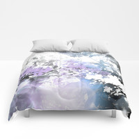 Watercolor Floral Lavender Teal Gray Comforters by lilkiddies