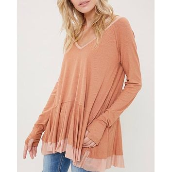 V-Neck Raglan Linen Ruffled Double Hem Top with Thumb Holes in Ginger