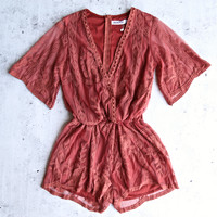 final sale - reverse - avant garden lace romper - rose