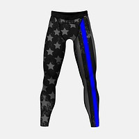 Tactical Thin Blue Line USA Flag Tights for men