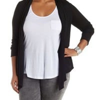 Plus Size Black Shawl Collar Long Sleeve Cardigan by Charlotte Russe