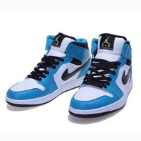 Nike Air Jordan Retro 1 High Tops Contrast Sports shoes Lake blue Black hook G-CSXY