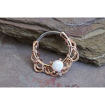 Opal Set Centered Filigree Bendable WildKlass Hoop Rings for Nose Septum Daith and Ear Cartialge