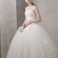 Taffeta Ball Gown with Floral Embroidery on Bodice - David's Bridal- mobile