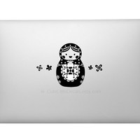 Cute Doll Decal - Matryoshka Decals - Flower Decal - Macbook Decals - Laptop Stickers - Car Window Wall Decal - Made in USA