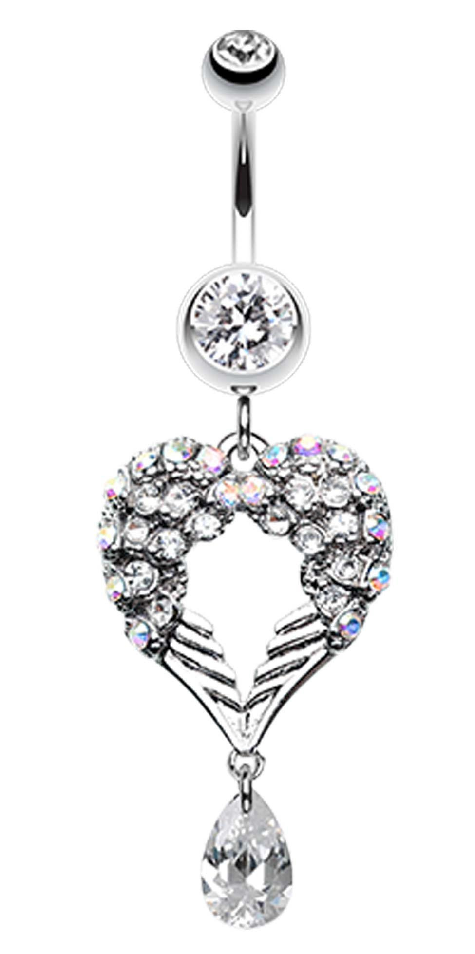 Image of Heart Wings Crystalline Belly Button Ring