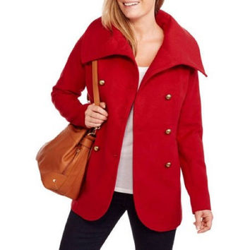 Maxwell Studio Women's Tulip Faux Wool Double-Breasted Peacoat, Red, 2X
