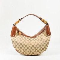 """Gucci Beige & Brown Canvas & Leather Bamboo Ring """"Original GG"""" Monogram Hobo Bag"""